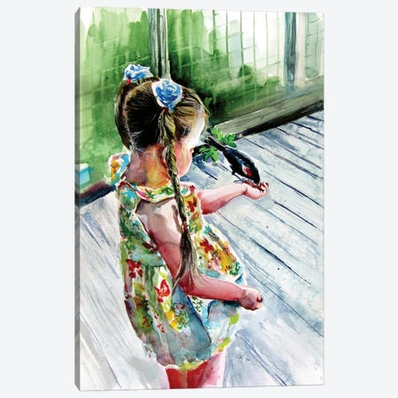 Girl With Bird Canvas Print #AKV218} by Anna Brigitta Kovacs Art Print