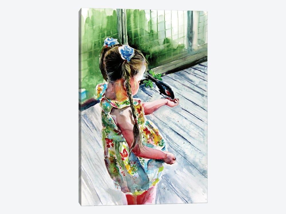 Girl With Bird by Anna Brigitta Kovacs 1-piece Canvas Wall Art
