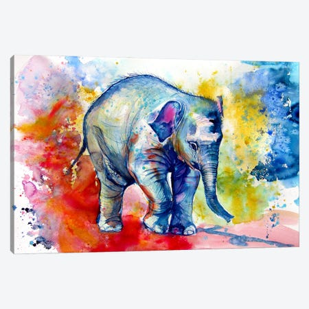 Elephant Baby Alone Canvas Print #AKV221} by Anna Brigitta Kovacs Canvas Artwork