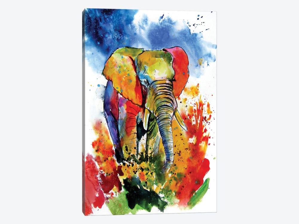 Colorful Elephant On The Field by Anna Brigitta Kovacs 1-piece Art Print