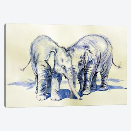 Elephant Babies Canvas Print #AKV223} by Anna Brigitta Kovacs Canvas Artwork