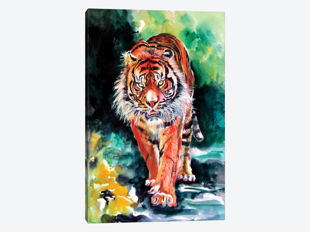 Tiger In Forest by Anna Brigitta Kovacs 1-piece Canvas Artwork