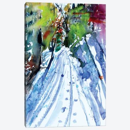 Snowy Road In The Forest Canvas Print #AKV235} by Anna Brigitta Kovacs Canvas Art