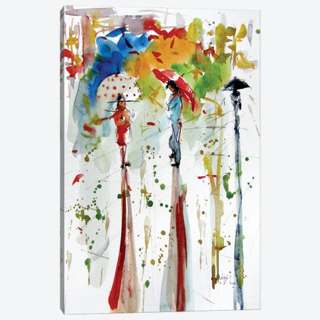 Fall With People And Umbrella Canvas Print #AKV239} by Anna Brigitta Kovacs Canvas Art Print
