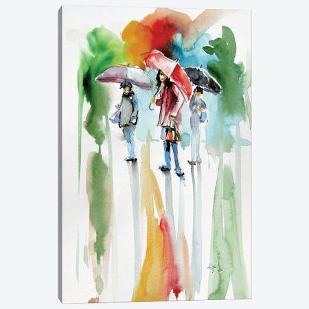 People With Umbrella Canvas Print #AKV243} by Anna Brigitta Kovacs Canvas Artwork