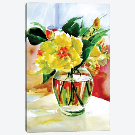 Still Life With Yellow Flowers Canvas Print #AKV244} by Anna Brigitta Kovacs Art Print