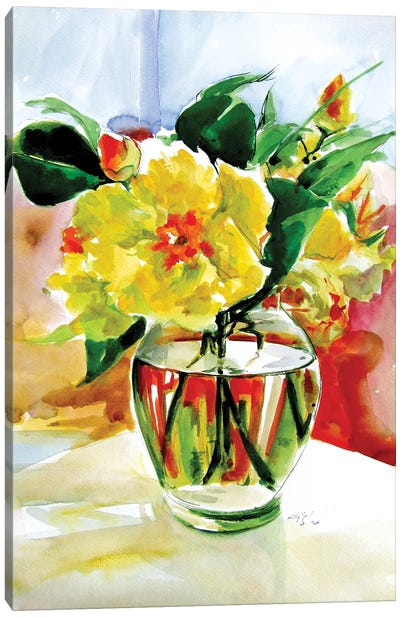 Still Life With Yellow Flowers Canvas Art Print