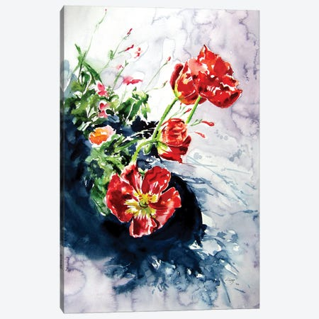 Red Poppies In Garden Canvas Print #AKV247} by Anna Brigitta Kovacs Canvas Print