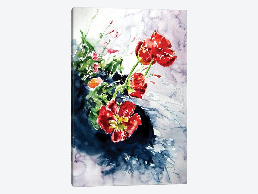 Red Poppies In Garden by Anna Brigitta Kovacs 1-piece Canvas Wall Art