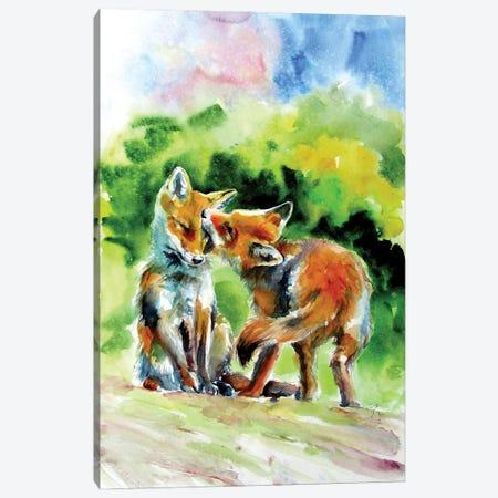 Fox Cubs Canvas Print #AKV248} by Anna Brigitta Kovacs Canvas Artwork