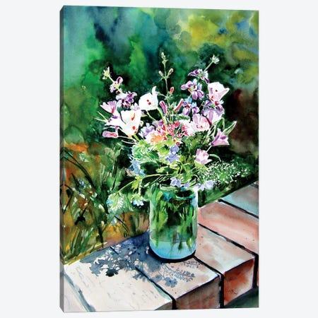Still Life With Wildflowers In The Garden Canvas Print #AKV249} by Anna Brigitta Kovacs Canvas Artwork