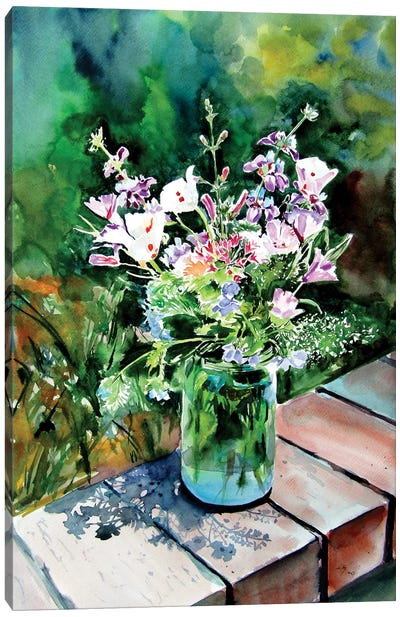 Still Life With Wildflowers In The Garden Canvas Art Print