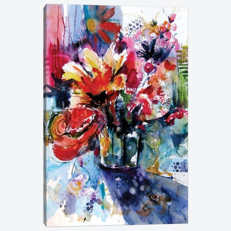 Colorful Life With Flowers I Canvas Print #AKV251} by Anna Brigitta Kovacs Canvas Art Print