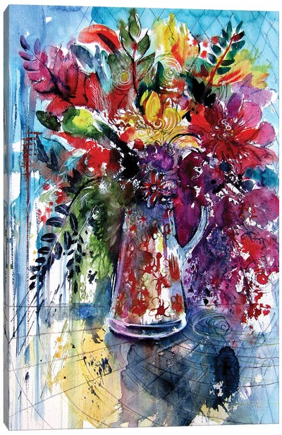 Colorful Life With Flowers II Canvas Art Print