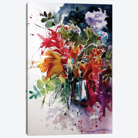 Colorful Life With Flowers IV Canvas Print #AKV254} by Anna Brigitta Kovacs Canvas Artwork