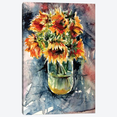 Still Life With Some Sunflowers Canvas Print #AKV255} by Anna Brigitta Kovacs Canvas Wall Art