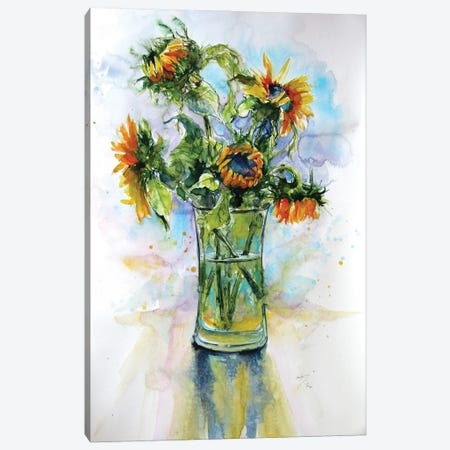Colorful Life With Sunflowers I Canvas Print #AKV257} by Anna Brigitta Kovacs Canvas Art