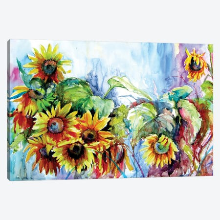 Colorful Life With Sunflowers II Canvas Print #AKV258} by Anna Brigitta Kovacs Canvas Art Print
