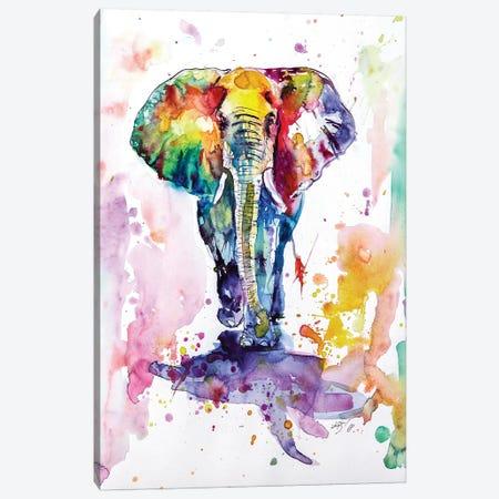 Colorful Elephant Walking Canvas Print #AKV25} by Anna Brigitta Kovacs Canvas Art Print