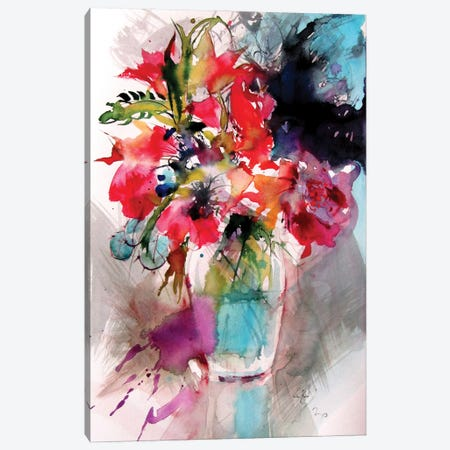 Home Atmosphere With Flowers I Canvas Print #AKV262} by Anna Brigitta Kovacs Canvas Wall Art