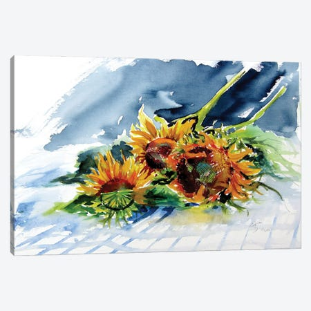 Sunflowers On The Table Canvas Print #AKV266} by Anna Brigitta Kovacs Art Print