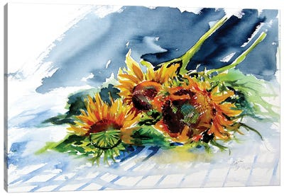 Sunflowers On The Table Canvas Art Print