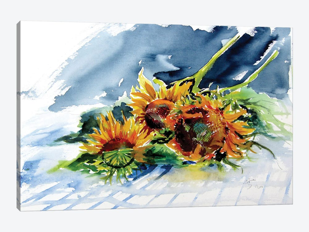 Sunflowers On The Table by Anna Brigitta Kovacs 1-piece Art Print