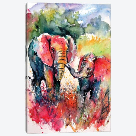 Colorful Elephant With Baby On The Field Canvas Print #AKV267} by Anna Brigitta Kovacs Canvas Art Print