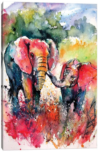 Colorful Elephant With Baby On The Field Canvas Art Print