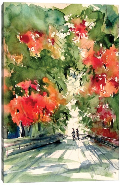 In The Park In The Fall Canvas Art Print
