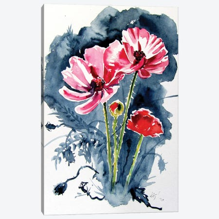 Some Poppy Flowers Canvas Print #AKV291} by Anna Brigitta Kovacs Canvas Print