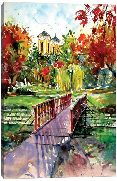 My Home At Fall Canvas Art Print