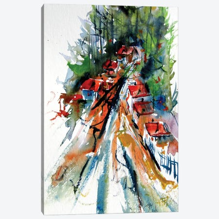 Village On The Edge Of The Forest Canvas Print #AKV307} by Anna Brigitta Kovacs Canvas Wall Art