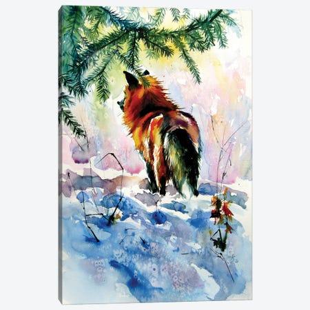 Red Fox Watching Wintertime Canvas Print #AKV318} by Anna Brigitta Kovacs Canvas Wall Art