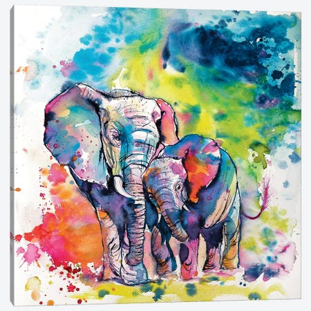 Elephant With Baby I Canvas Print #AKV32} by Anna Brigitta Kovacs Art Print