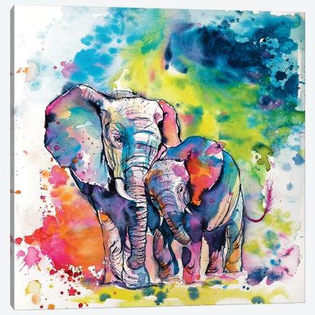 Elephant With Baby I Canvas Print #AKV32} by Anna Brigitta Kovacs Art Print