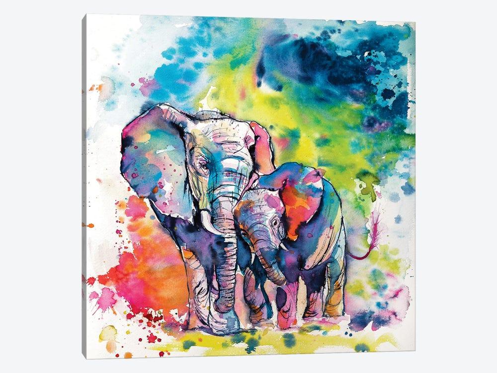 Elephant With Baby I by Anna Brigitta Kovacs 1-piece Canvas Print