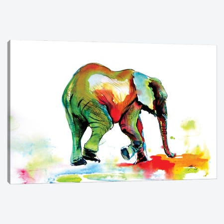 Colorful Elephant Alone Ii Canvas Print #AKV336} by Anna Brigitta Kovacs Art Print