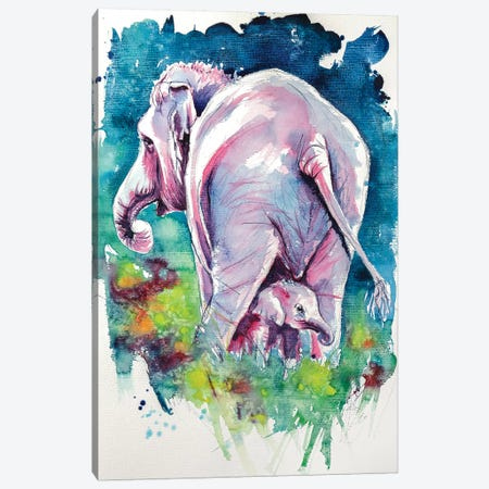 Elephant With Baby II Canvas Print #AKV33} by Anna Brigitta Kovacs Art Print
