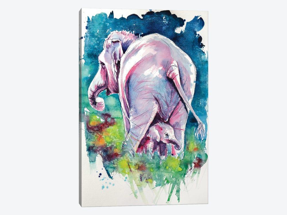 Elephant With Baby II by Anna Brigitta Kovacs 1-piece Canvas Artwork