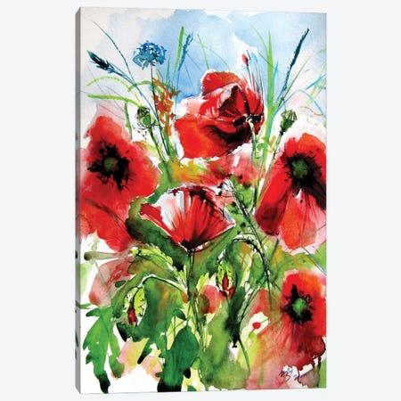 Red Poppies Canvas Print #AKV340} by Anna Brigitta Kovacs Art Print
