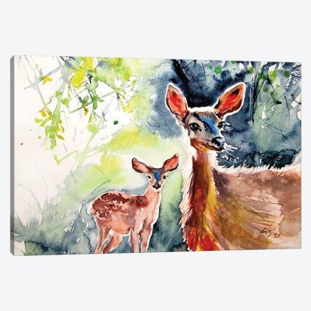 Deer In The Sun II Canvas Print #AKV345} by Anna Brigitta Kovacs Canvas Art