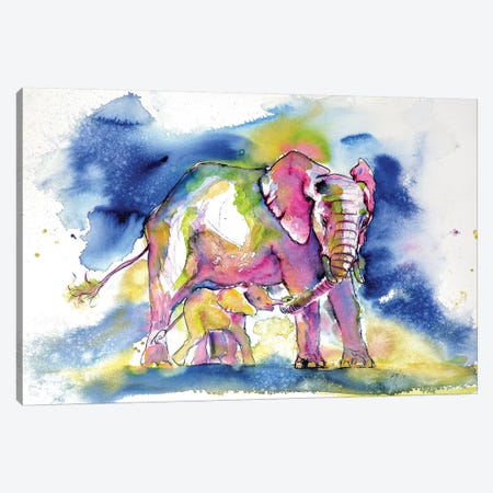 Elephant With Baby III Canvas Print #AKV34} by Anna Brigitta Kovacs Canvas Wall Art