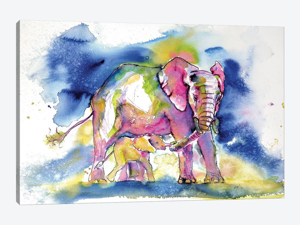 Elephant With Baby III by Anna Brigitta Kovacs 1-piece Canvas Art Print