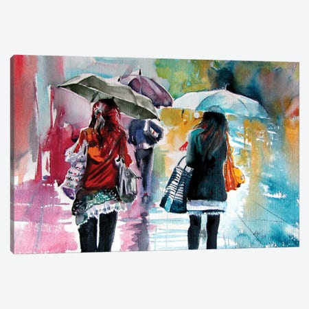 Rainy Day With Umbrellas II Canvas Print #AKV356} by Anna Brigitta Kovacs Canvas Art Print