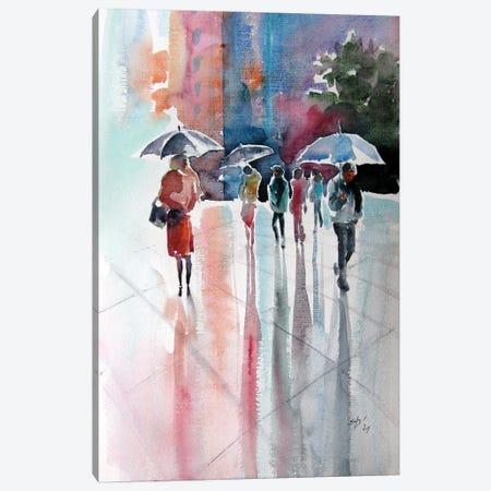 Rainy Day With Umbrellas III Canvas Print #AKV357} by Anna Brigitta Kovacs Art Print