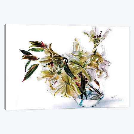 Bouquet Of Lily Casa Blanca Canvas Print #AKV361} by Anna Brigitta Kovacs Art Print