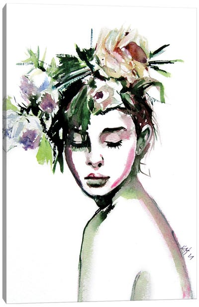 Beauty With Florals Canvas Art Print