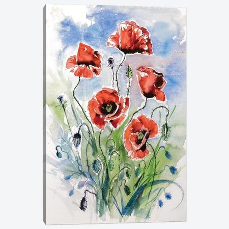 Five Poppies Canvas Print #AKV36} by Anna Brigitta Kovacs Canvas Artwork
