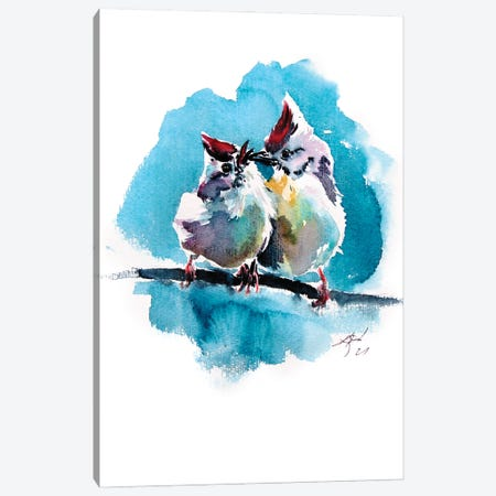 Cute Birds Canvas Print #AKV378} by Anna Brigitta Kovacs Canvas Artwork
